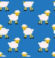 seamless pattern with sheep on blue vector image