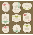 set easter labels tags with bows and ribbons vector image