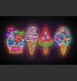 set glow signboards with different ice cream vector image