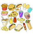 set of fast food hand drawn stickers doodles vector image