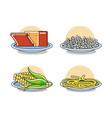 set of healthy food menu vector image