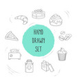 set of pastry icons line style symbols with cake vector image