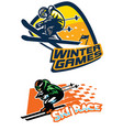 set of ski sport badge vector image vector image