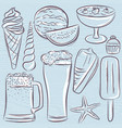 set of summer symbols shells beer ice cream vector image vector image
