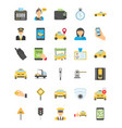 taxi services flat colored icons vector image vector image