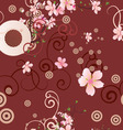 vector coffee cup and pink flowers seamless backgr vector image