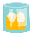 whisky glass with ice cubes cartoon vector image