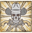 Wild west vintage grunge emblem with revolvers and vector image