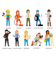 women hard working in mans job vector image