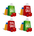discount signs set of colorful paper bags vector image