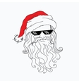 Santa Claus funny portrait in red hat in a steep vector image