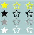star yellow black grey white icon vector image