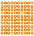 100 diagnostic icons set orange vector image vector image