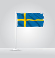 3d realistic sweden flag waving wind vector image
