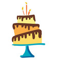 a beautiful three-layered birthday cake dripped