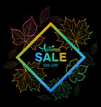 autumn sale banner with colorful frame vector image vector image