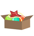 box with christmas decorations vector image