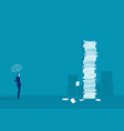 businessman think and solution with very tall pape vector image
