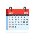 calendar for 2018 year full month of july icon vector image