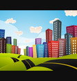 cartoon downtown road landscape vector image vector image