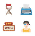 chair of the director typewriter cinematographic vector image vector image