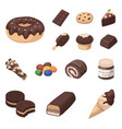 chocolate dessert cartoon icons in set collection vector image vector image