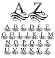 curly font calligraphic alphabet original typeface vector image vector image