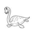 cute cartoon dinosaur elasmosaurus character vector image