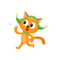 cute cat character playing throwing snowball vector image vector image