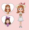 cute girls cartoon vector image