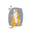cute orange and white spotted cat sleeping on back vector image
