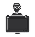 cyber thief avatar character with monitor vector image vector image