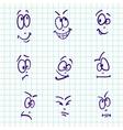 Emotion set of nine face on notebook paper vector image