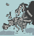 europe map poster map europe with country vector image vector image