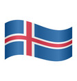 flag of iceland waving on white background vector image