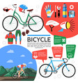 flat colorful bicycle poster vector image vector image