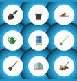 flat icon garden set of tool lawn mower shovel vector image vector image