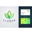 flower logo template and business card template vector image vector image