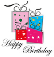Happy birthday gifts vector image