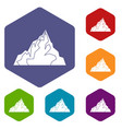 iceberg icons set hexagon vector image vector image