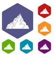 iceberg icons set hexagon vector image vector image