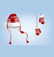 knitted santa hat and mittens with pattern vector image