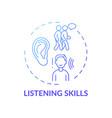 listening skills blue gradient concept icon vector image vector image