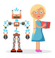 little blond girl in dress and electric robot vector image