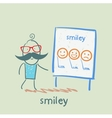 man showing a presentation with smiles vector image vector image