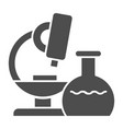 microscope solid icon research vector image vector image