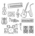Musical instruments and equipments sketches vector image