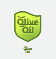 olive oil logo and label as heraldic shield vector image vector image