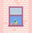 open window with jalousie bird sitting on sill vector image vector image