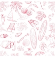 Pattern of doodle sketch Surfing icons vector image vector image